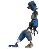 Old robot  leaning Stock Photo