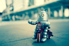 Old robot toy, vintage color style. Old robot toy, vintage color style, vintage tone background Royalty Free Stock Photos