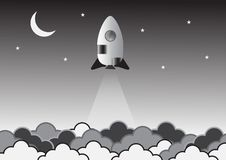 Old rocket on space creative idea. Vector. Illustration. vector illustration