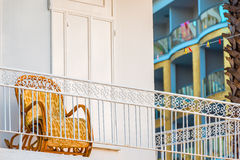 Old rocking chair on the balcony Royalty Free Stock Photos