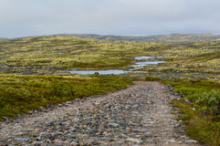 Old Rocky Road. Old rocky geman road in mountains, Kola Stock Image
