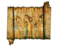 Old roll of egiytian papyrus Royalty Free Stock Image