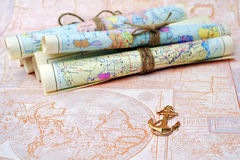 Old rolled maps Stock Photo