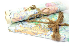 Old rolled maps Stock Photos