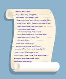 Old rolled up paper scroll with fake handwriting Stock Image