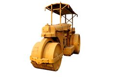 Old roller compactor machine with yellow color .isolated on white background royalty free stock photos