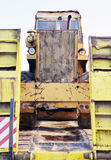 The old roller furling truck concreting of roads Royalty Free Stock Image