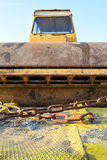 The old roller furling truck concreting of roads Royalty Free Stock Photos