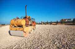 Old Roller (paver) and blue sky Royalty Free Stock Photo