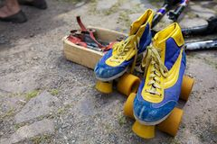 Old roller skates on a flea market Stock Photos