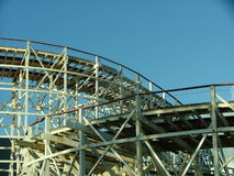 Old rollercoaster. An old wooden rollercoaster by the seaside Royalty Free Stock Photos
