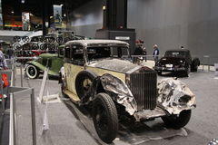 Old Rolls Royce after accident. Chicago auto show February 2011 Stock Photography