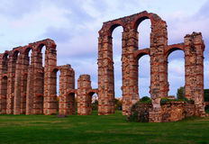 Old roman aqueduct in  dusk lights. Merida Royalty Free Stock Image