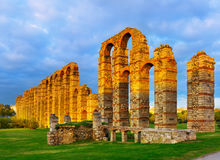 Old roman aqueduct in  evening lights. Merida Stock Photo