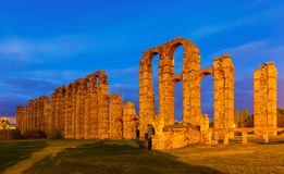 Old Roman Aqueduct of Merida in evening Royalty Free Stock Photo