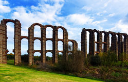 Old roman aqueduct at Merida Royalty Free Stock Photo