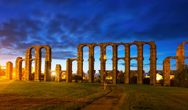 Old Roman Aqueduct of Merida in  twilight Royalty Free Stock Images