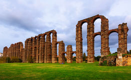 Old roman aqueduct at Merida Stock Photography