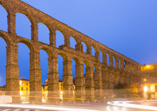Old Roman Aqueduct in morning time. Segovia Stock Image