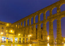 Old roman aqueduct in night Stock Image
