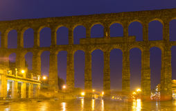 Old Roman Aqueduct in night. Segovia Stock Image