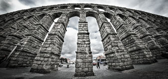 Old Roman aqueduct at Segovia. Stock Image