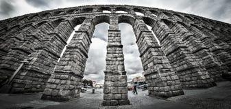 Old Roman aqueduct at Segovia. The old Roman Aqueduct in Segovia, Spain stock image