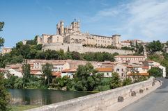 old roman bridge and cathedral St Nazaire in Beziers Stock Image