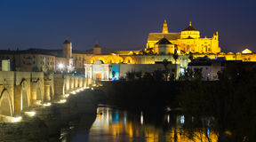 Old roman bridge and  Mosque-cathedral of Cordoba Stock Photography