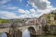Old Roman bridge over river Tamega in Amarante royalty free stock photos