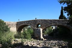 Old roman bridge at Pollensa. Mallorca Royalty Free Stock Photo