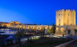 Old roman bridge and tower Calahora, Cordoba Stock Images