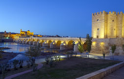 Old roman bridge and tower Calahora at night, Cordoba Royalty Free Stock Photo