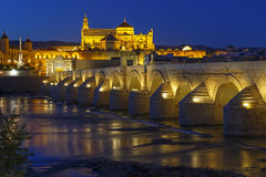 Old roman bridge and tower Calahora at night, Cordoba Royalty Free Stock Photography