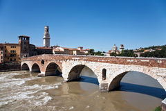The old roman bridge in Verona  spans the river Royalty Free Stock Photos