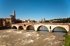 The old roman bridge in Verona Royalty Free Stock Photo