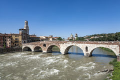 Old roman bridge in Verona  spans the river Etsch Royalty Free Stock Photography
