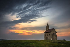 Old Roman Church at Sunset in Drazovce, Slovakia Royalty Free Stock Image