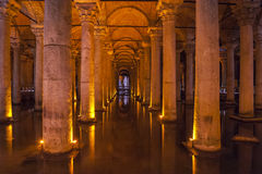 Old Roman columns in an ancient cistern Stock Images