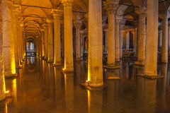 Old Roman columns in an ancient cistern Royalty Free Stock Photography