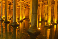 Old Roman columns in an ancient cistern Stock Image