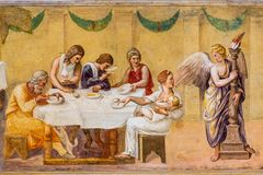 Free Old Roman Fresco Showing A Family Supper Stock Images - 156970124