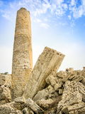 Old roman ruins column. In Sicily Island, Italy Stock Image