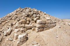 Old roman ruins on desert coastline. Remains of old abandoned roman fort ruins on Red Sea coastline stock photo