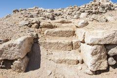 Old roman ruins on desert coastline. Remains of old abandoned roman fort ruins on Red Sea coastline stock images