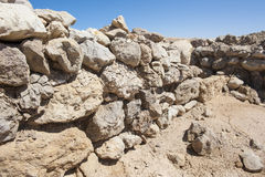 Old roman ruins on desert coastline. Remains of old abandoned roman fort ruins on Red Sea coastline royalty free stock photos