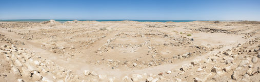Old roman ruins on desert coastline. Remains of old abandoned roman fort ruins on Red Sea coastline stock photography