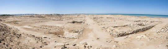 Old roman ruins on desert coastline. Remains of old abandoned roman fort ruins on Red Sea coastline royalty free stock photo