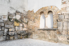 Old roman surrounding wall of the castra regina in Regensburg, Germany.  Royalty Free Stock Image