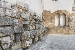 Old roman surrounding wall of the castra regina in Regensburg, Germany.  Royalty Free Stock Photography